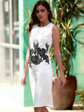 Brief Style Round Neck Sleeveless Floral Print Sheathy Dress For Women
