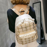 Fashion Rivets and Plaid Design Backpack For Women