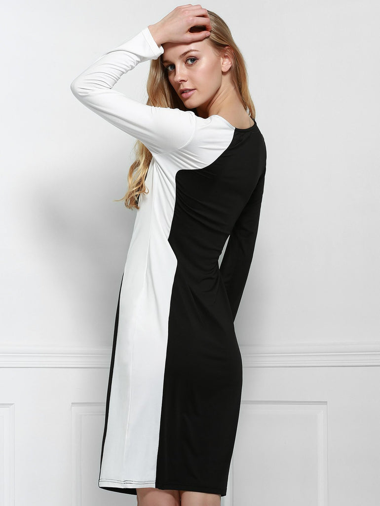 Elegant Scoop Neck Long Sleeve Black and White Spliced Plus Size Dress For Women