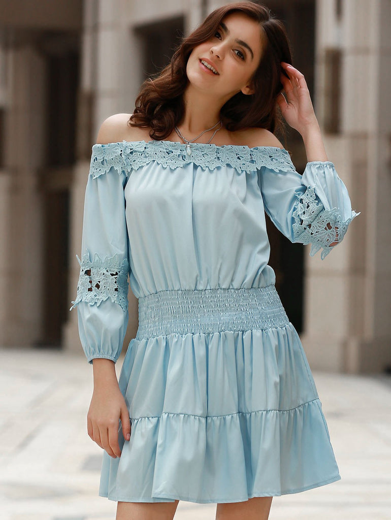 Sweet Style Off-The-Shoulder Long Sleeve Solid Color Elastic Waist Dress For Women