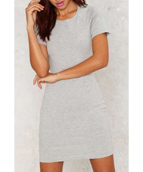 Women's Stylish Grey Short Sleeve Backless Jewel Neck Dress