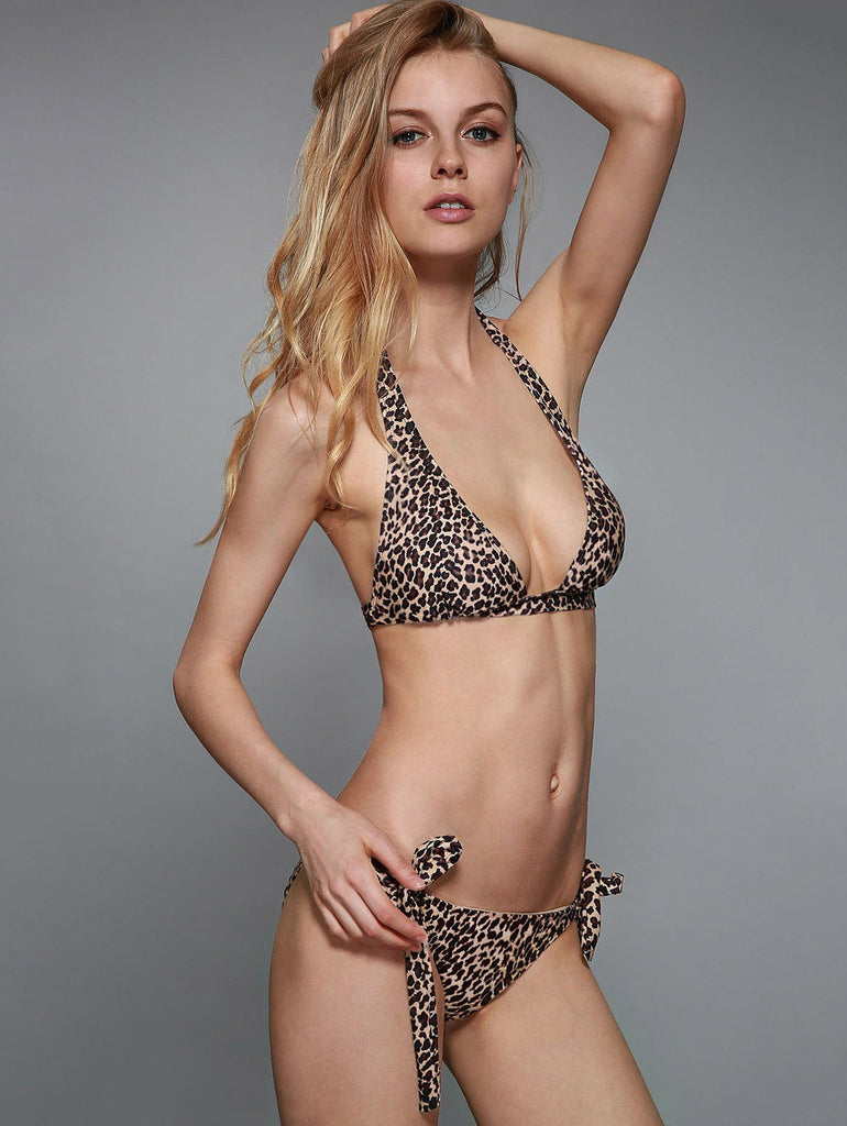 Sexy Halterneck Leopard Print Stretchy Bikini Set For Women
