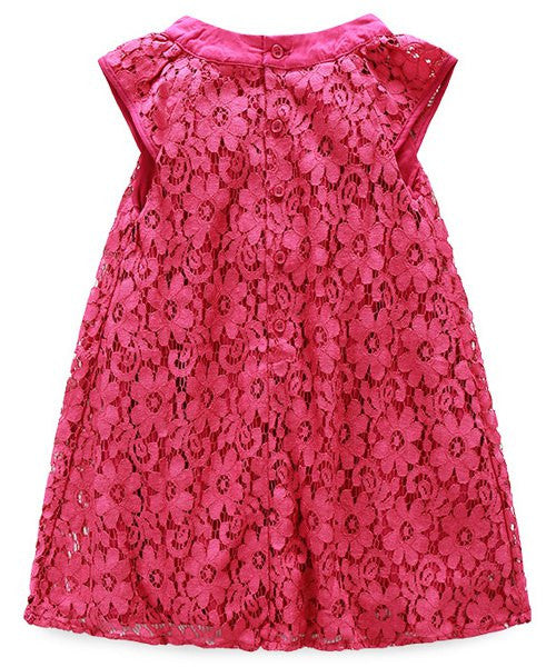 Sweet Sleeveless Round Neck Flower Design Girl's Dress