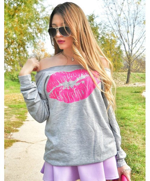 Sexy Color Block Lip Printed Pullover Sweatshirt For Women