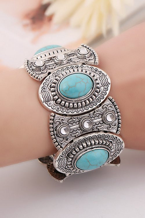 Stylish Turquoise Oval Elastic Bracelet For Women