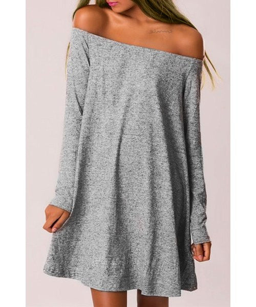 Stylish Off-The-Shoulder Long Sleeve Pure Color Women's Dress