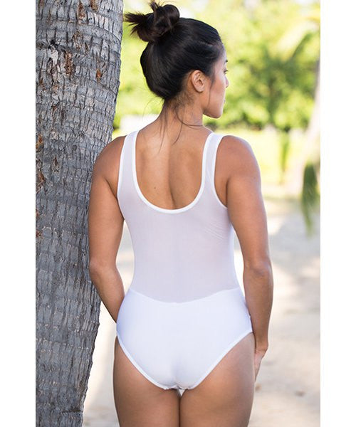 Fashionable Scoop Neck Voile Spliced One-Piece Women's Swimsuit
