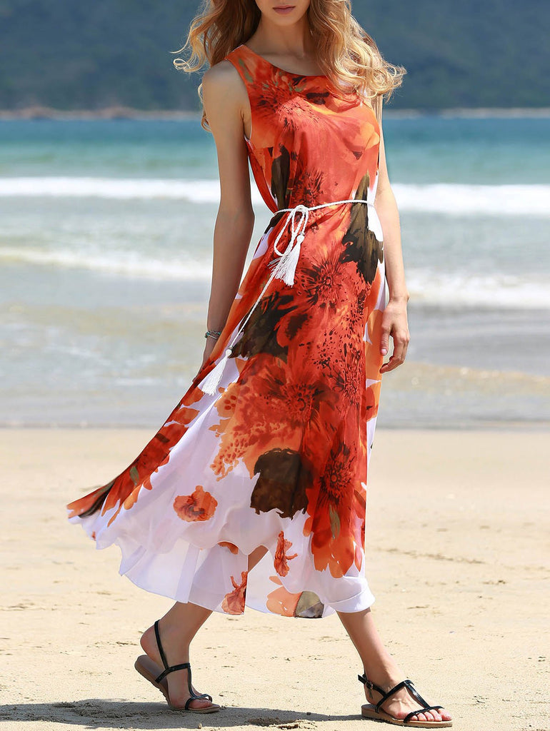 Graceful Round Collar Sleeveless Red Floral Print Chiffon Dress For Women