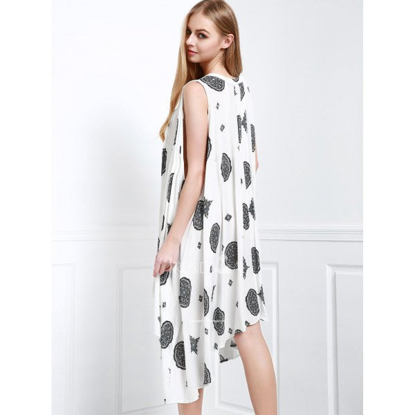 Casual Keyhole Neck Sleeveless Coin Print Asymmetrical Dress For Women