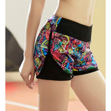 Active Style Elastic Waist Colorful Printed Yoga Shorts For Women