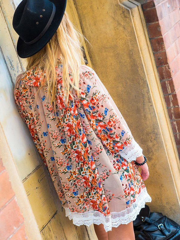 Stylish Collarless Long Sleeve Laciness Floral Print Women's Kimono Blouse