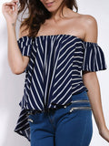 Charming Off-The-Shoulder Short Sleeve Striped High-Low Hem Blouse For Women