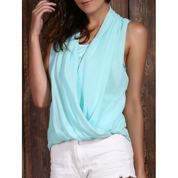 Fashionable V-Neck Sleeveless Solid Color Chiffon Women's Tank Top