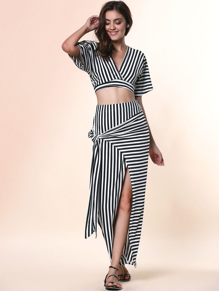 Chic Plunging Neck Cut Out Striped Crop Top + High-Waisted Furcal Skirt Women's Twinset