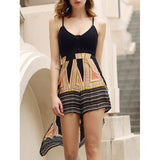 Stylish Plunging Neck Backless Multi Convertible Way Skirted Romper For Women