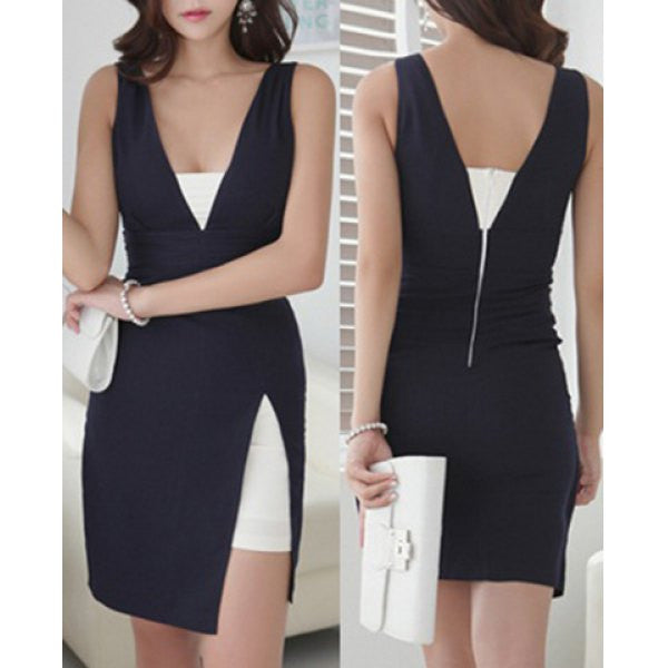 Charming Plunging Neck Color Block Open Back Sleeveless Dress For Women