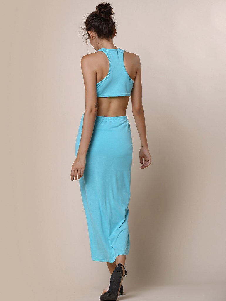 Sexy Round Neck Candy Color Crop Top and Irregular Skirt Two-Piece Set For Women