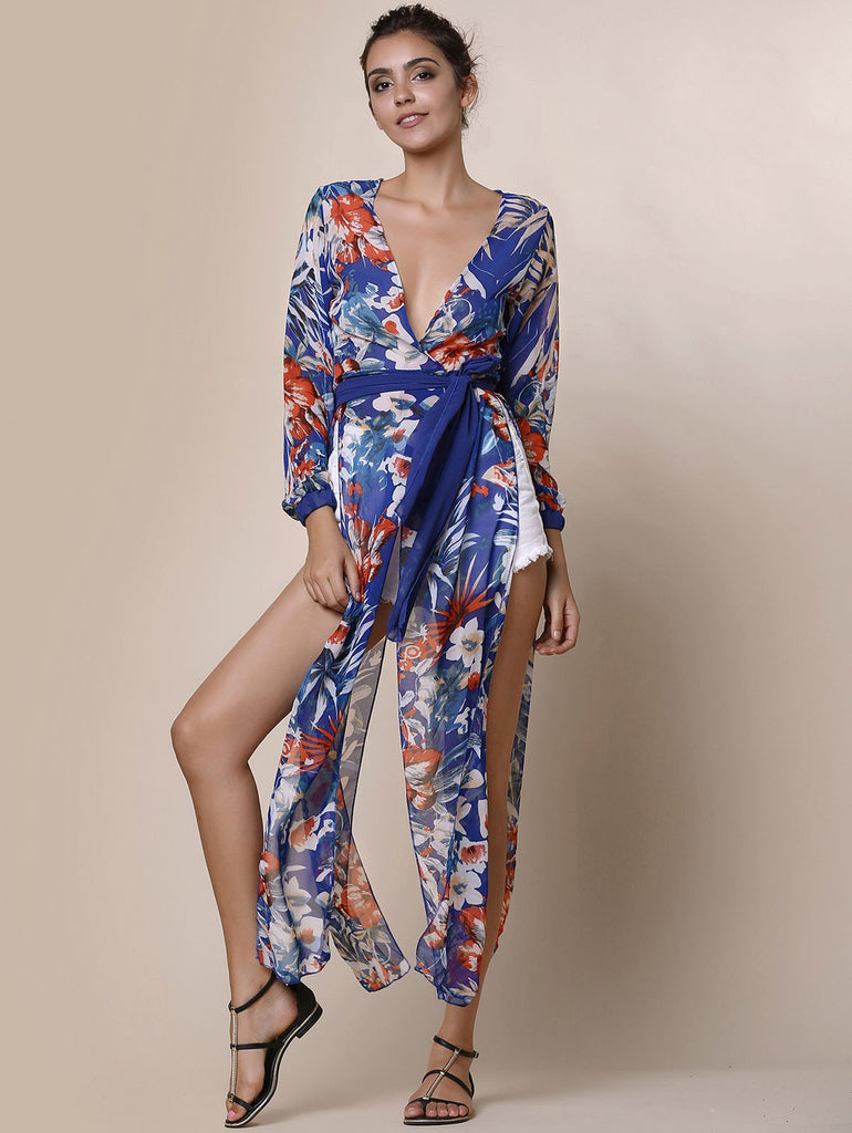 Sexy Plunging Neck Long Sleeve Floral Print Women's Cover-Up