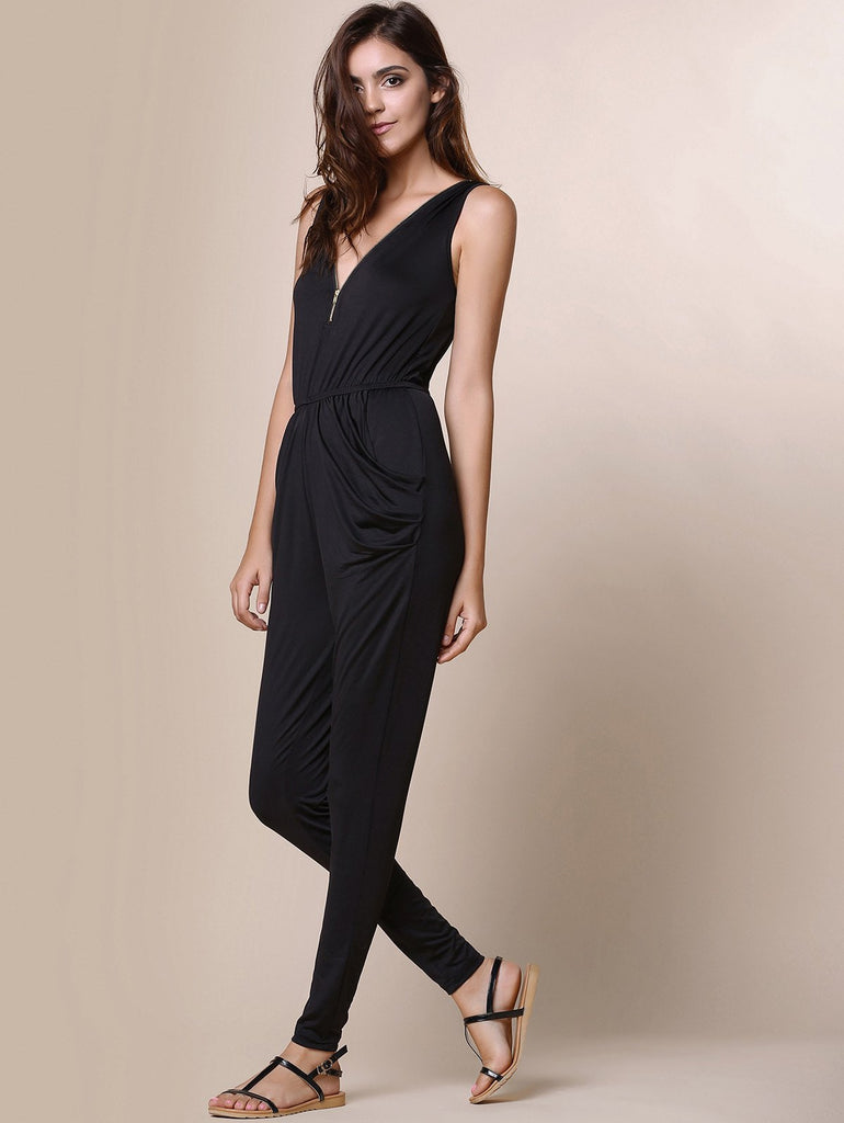 Fashionable V-Neck Zippered Sleeveless Black Pleated Jumpsuit For Women