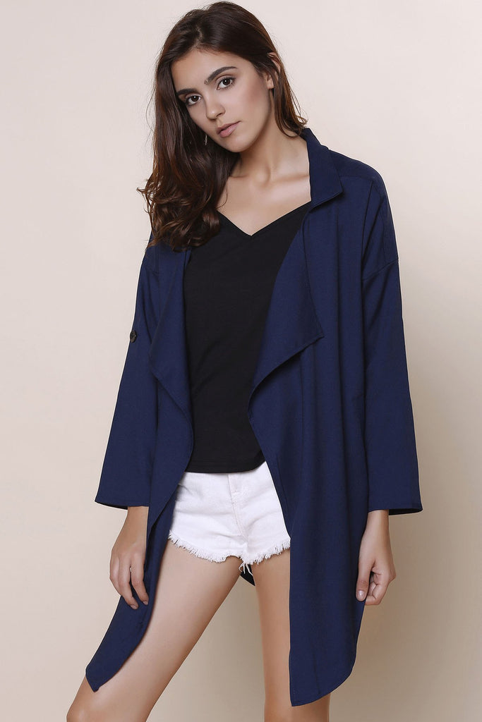 Stylish Turn-Down Collar 3/4 Sleeve Asymmetrical Chiffon Women's Coat