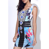 Stylish Round Neck Full Print Sleeveless Bodycon Dress For Women