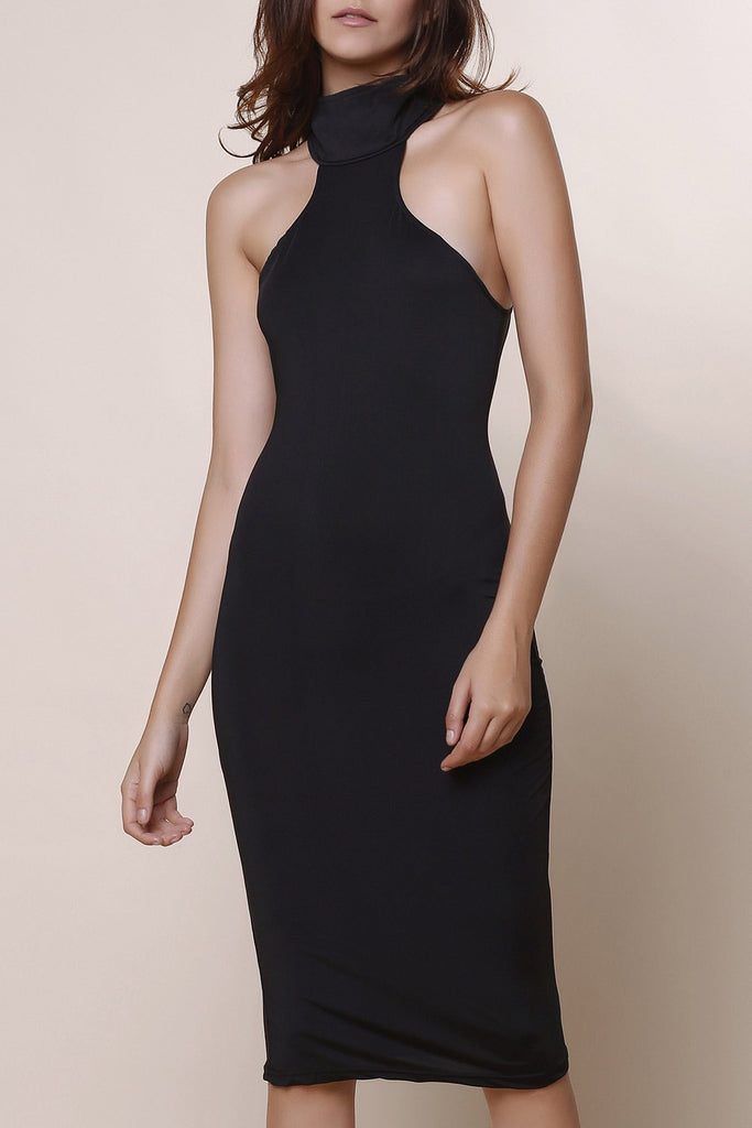 Elegant Turtle Neck Solid Color Hollow Out Sleeveless Bodycon Dress For Women