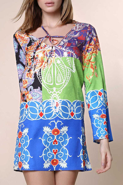 Sexy Plunging Neck Long Sleeve Printed Chiffon Dress For Women
