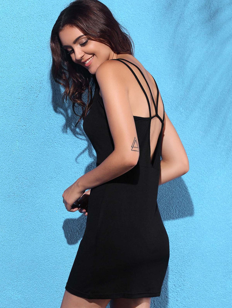 Trendy Spaghetti Strap Pure Color Backless Dress
