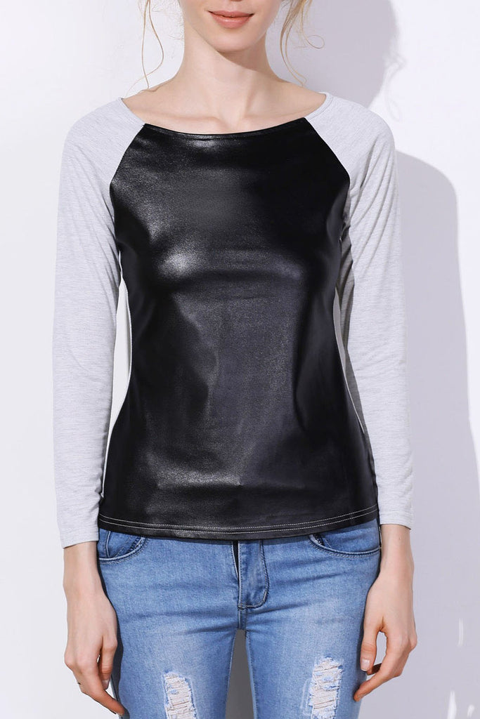 Stylish Jewel Neck Long Sleeve PU Spliced Color Block Women's T-Shirt