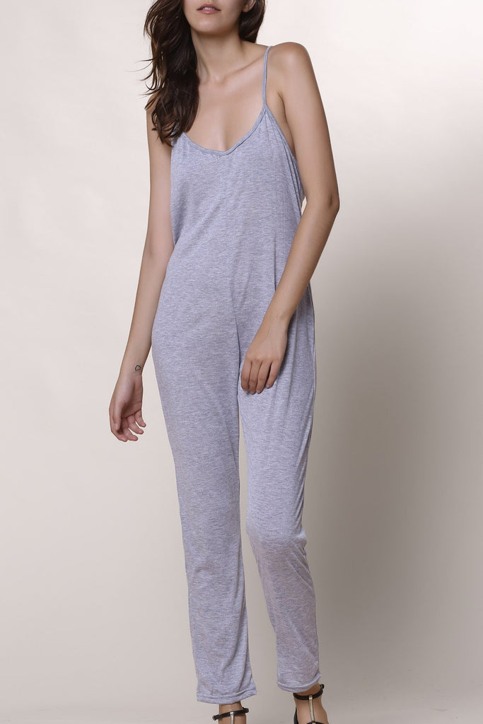 Casual Spaghetti Strap Solid Color Jumpsuit For Women