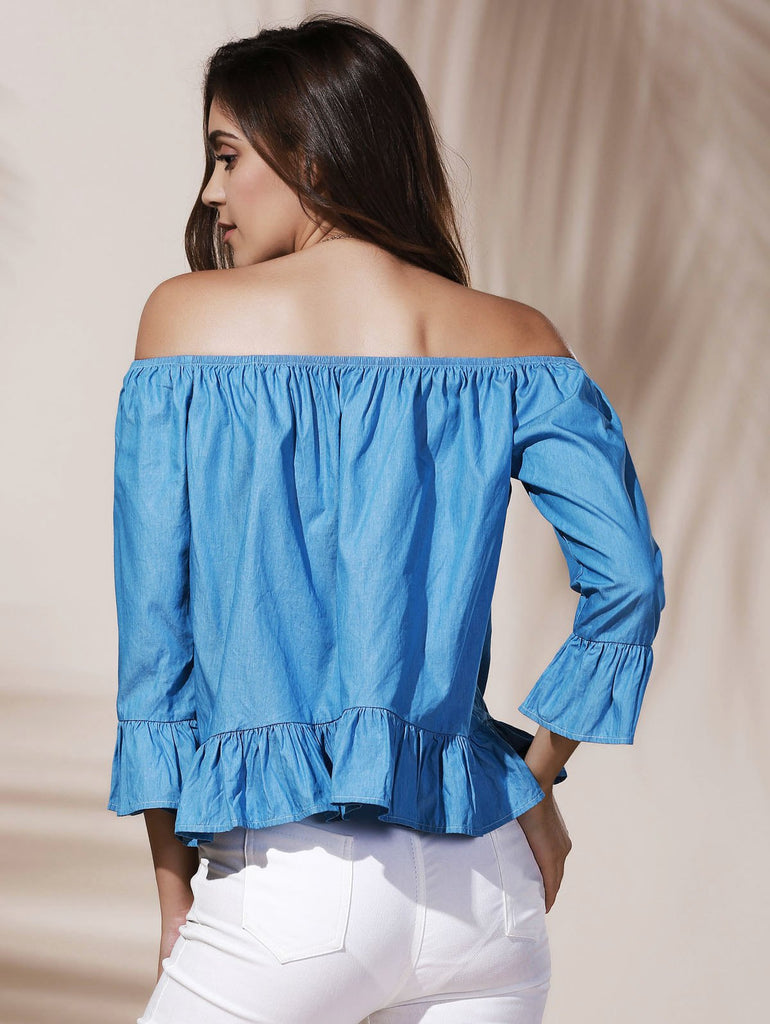 Graceful Off-The-Shoulder Long Sleeve Ruffled Blue Blouse For Women