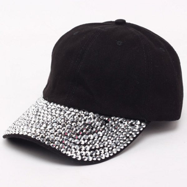 Chic Fulled Rhinestones Brim Solid Color Baseball Cap For Women
