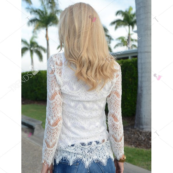 Fashion V-Neck Crochet Flower Hollow Out Long Sleeve Cover-Up For Women
