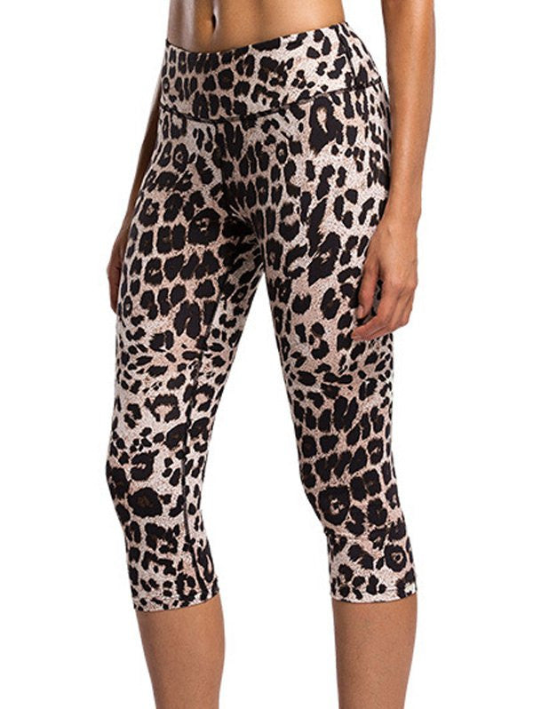 Fashionable Elastic Waist Leopard Print Sport Leggings For Women