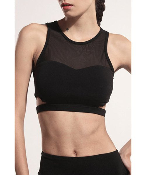 Active Round Neck Mesh Spliced Hollow Out Women's Bra