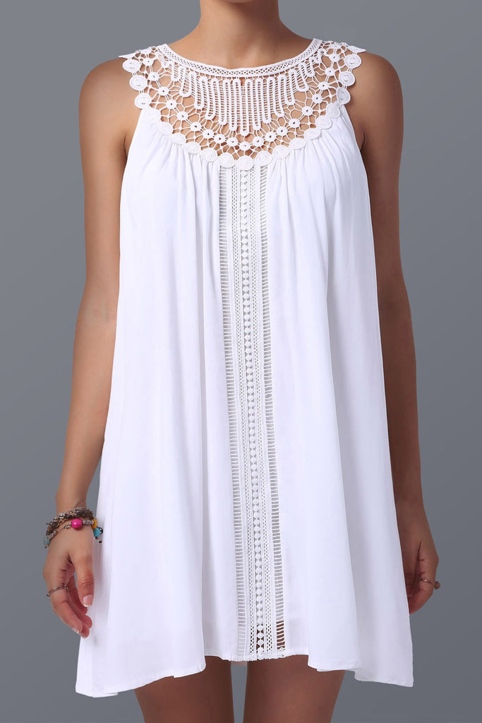 Women's Stylish Lace Spliced Sleeveless Dress