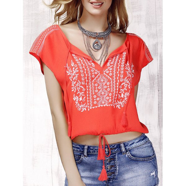Stylish V-Neck Embroidered Short Sleeve Drawsting Crop Top For Women