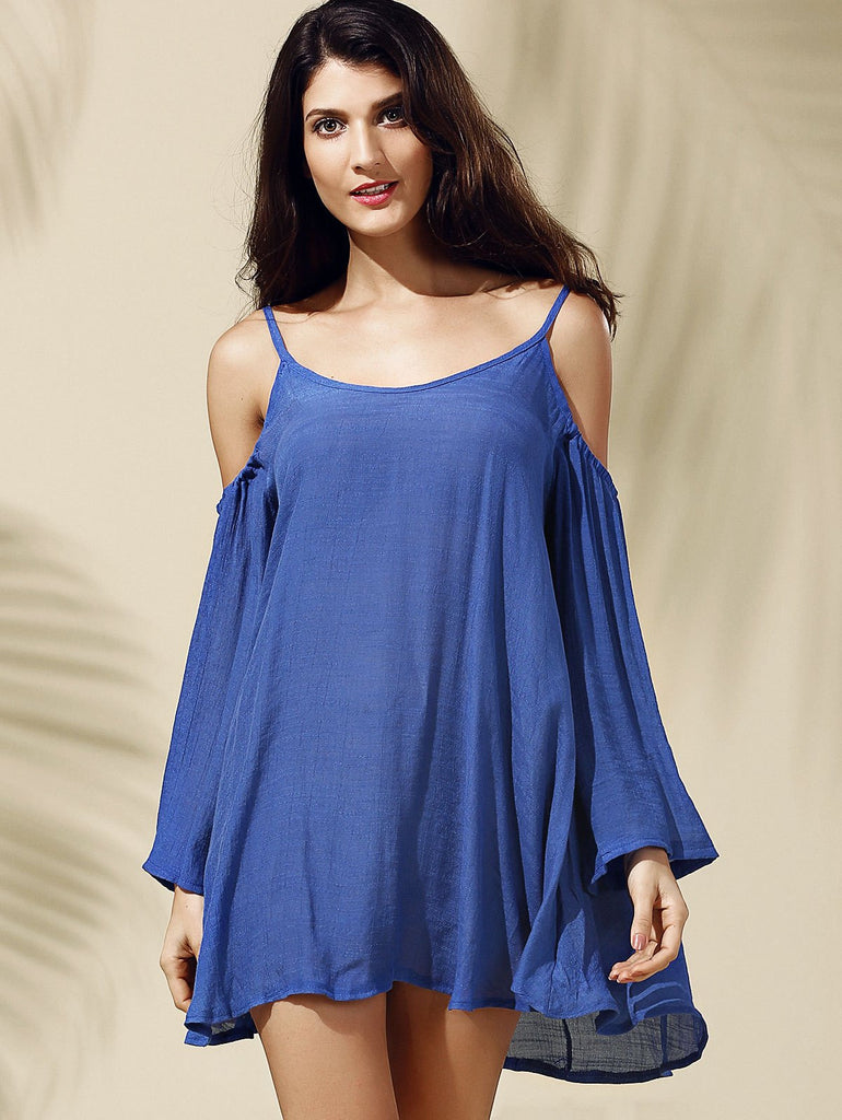 Stylish Strappy Cold Shoulder Solid Color Dress For Women