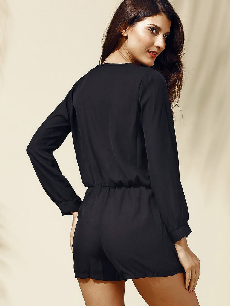 Alluring Long Sleeves Plunging Neck Solid Color Romper For Women