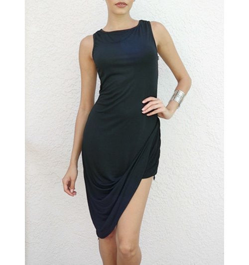 Sexy O Neck Tank Sleeveless Asymmetrical Black Women's Mini Dress