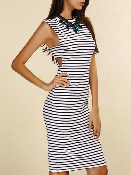Fashionable Round Neck Sleeveless Striped Cut Out Women's Dress