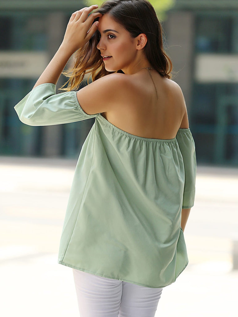 Stylish Off-The-Shoulder Half Sleeves Solid Color Blouse For Women