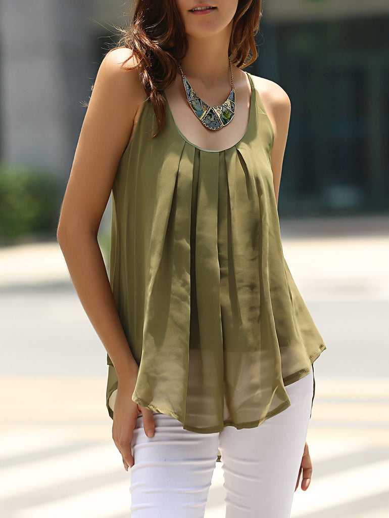 Charming Spaghetti Strap Solid Color Chiffon Tank Top For Women
