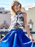 OL Style Stand Collar Flower Print Lace-Up Sleeveless Blouse For Women
