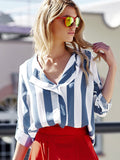 Stylish Turn-Down Collar Long Sleeve Vertical Striped Loose-Fitting Blouse For Women