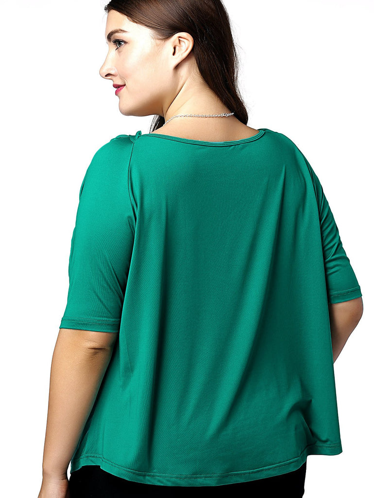 Fashionable V-Neck Openwork 1/2 Sleeve Plus Size Top For Women