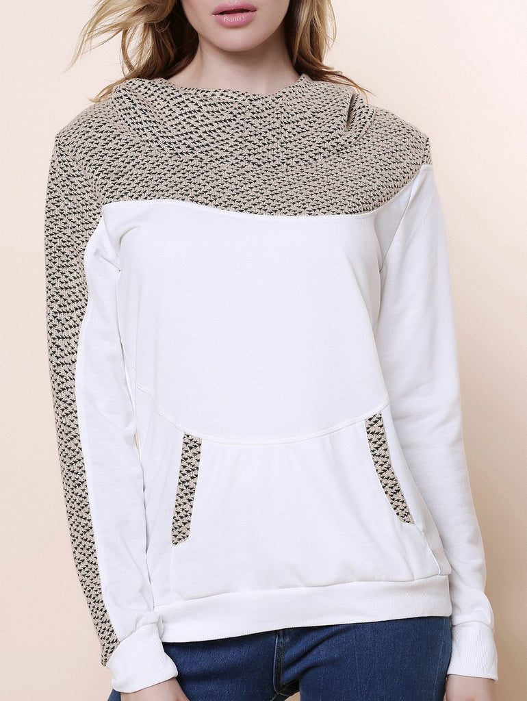 Stylish Hooded Long Sleeve Spliced Loose-Fitting Women's Hoodie