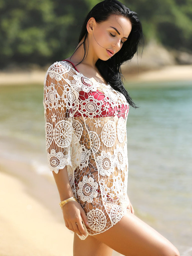 Hollow Out Crochet Swimsuit Cover-Up