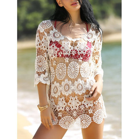 Sexy Halter Hollow Out Solid Color One-Piece Women's Swimwear