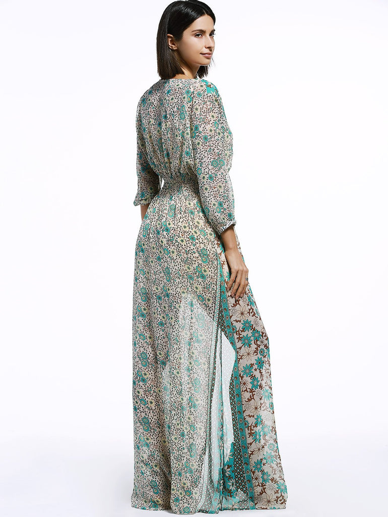 Bohemian V-Neck 3/4 Sleeve Tribal Print High Slit Women's Maxi Dress